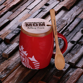 Personalized Ceramic Starbucks Mug w/Bamboo Lid & Spoon