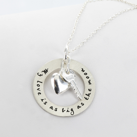 Personalized Circle Necklace with Two Charms