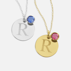 Personalized Circle Necklace With Initial And Slide In Swarovski Birthstone