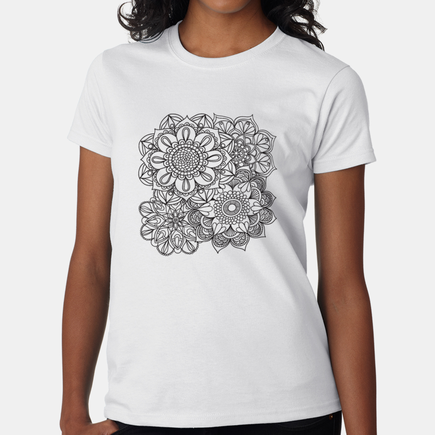 Personalized Coloring Flowers T-Shirt for Women