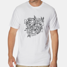 Add Color Personalized Skulls and Roses T-Shirt for Men
