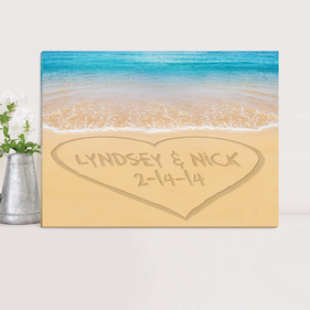 Personalized Couples Canvas Prints - Heart Beach