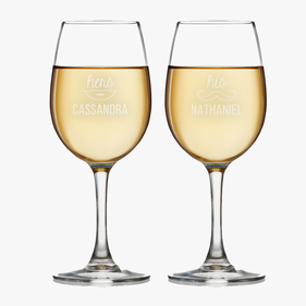 Personalized Couples His & Her Wine Glass Set