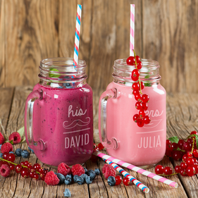 Personalized Couples His and Hers Glass Jars