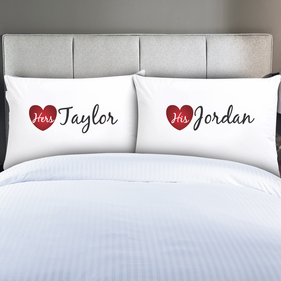 Personalized Couples His & Hers Pillow Cases