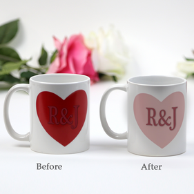 Personalized Couples Initials Heart Magic Mug