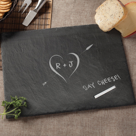 Personalized Couples Initials Slate Serving Board