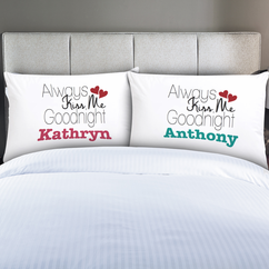 Personalized Couples Always Kiss Me Pillow Cases Set of 2