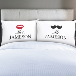Personalized Couples Mrs. & Mr. Pillow Cases
