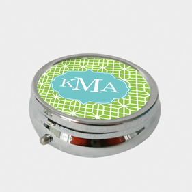 Personalized Round Octagon Chain Design Monogram Pill Box
