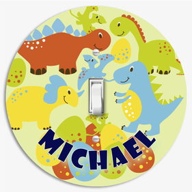 Personalized Dinosaur Round Light Switch Cover