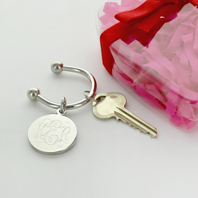 Personalized Disk Key Chain with Heart Gift Box