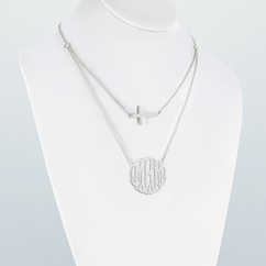 Personalized Double Layer Monogram Necklace with  Cross