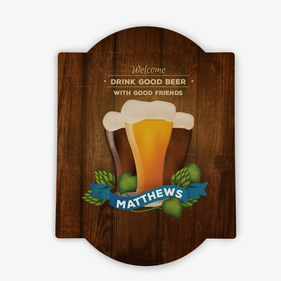 Personalized Drink Good Beer Bar Sign