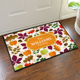 Personalized Fall Leaves Floor Mat