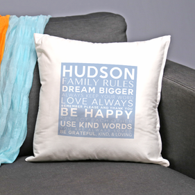 Custom Family Rules Dream Bigger Decorative Cushion Cover