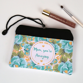 Personalized Floral Cosmetic Bag