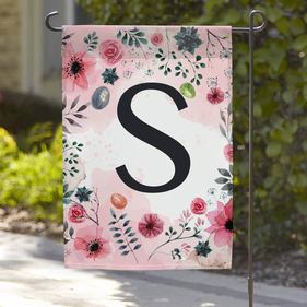 Personalized Floral Initial Garden Flag