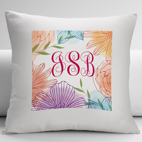 Personalized Floral Monogram Decorative Cushion Cover