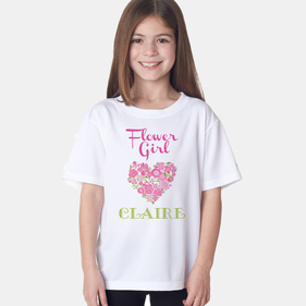 Personalized Flower Girl Heart T-Shirt