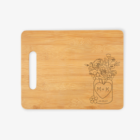 Personalized Flowers and Love Cutting Board