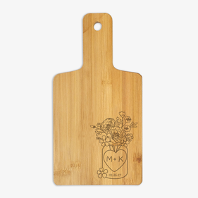 Personalized Flowers and Love Wooden Serving Board