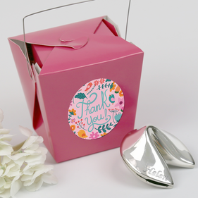 Personalized Fortune Cookie Silver Polished Gift, Thank You Note