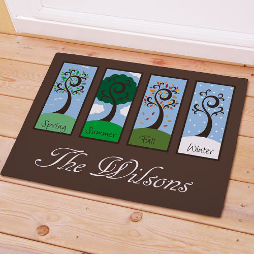 Personalized Four Seasons Welcome Doormat pefosewedo