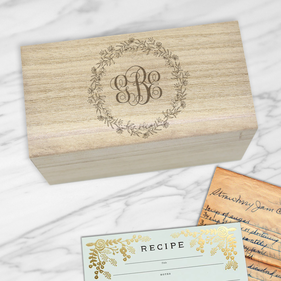 Personalized Frilly Monogram Recipe Box
