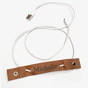Personalized Genuine Leather Cable Organizer Identifier