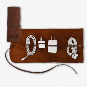 Personalized Genuine Leather Multi Cable Large Organizer