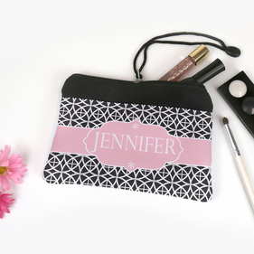 Personalized Geo Trellis Design Cosmetic Bag