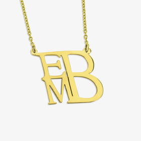 Personalized Gold Plated Monogram Necklace Square Shape