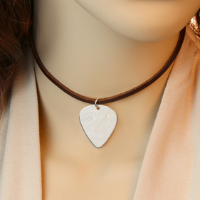 Personalized Guitar Pick Leather Choker Necklace