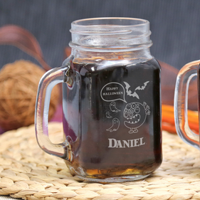 Personalized Halloween Glass Mason Jar