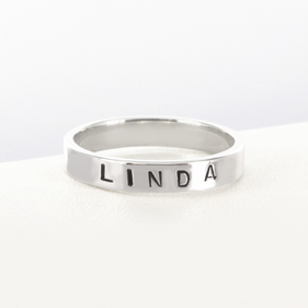 Personalized Hand Stamped Sterling Silver Ring