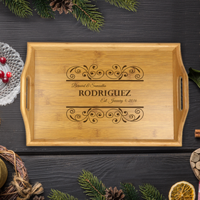 Personalized Handle Wood Tray