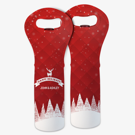 Personalized Happy Holidays Insulated Wine Gift Bag