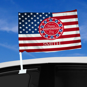 Personalized Happy Independence Day Car Flag
