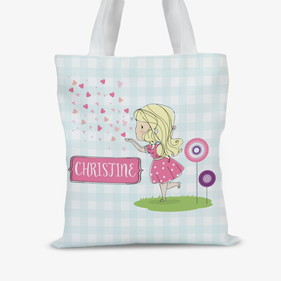 Personalized Heart Kisses Kids Tote Bag