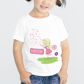 Personalized Heart Kisses T-Shirt for Girls