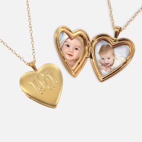 Personalized Heart Monogram Locket Necklace