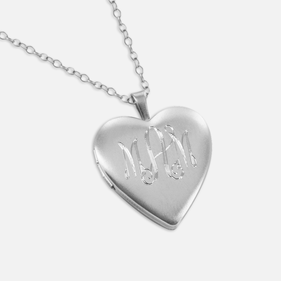 Personalized Heart Monogram Locket Necklace in Silver