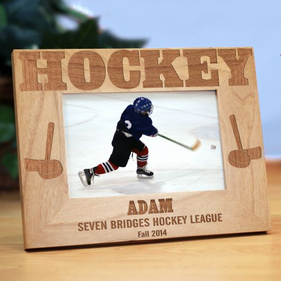 Personalized Hockey Wood Picture Frame