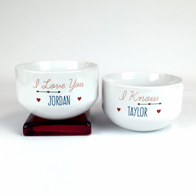 Personalized I Love You Ceramic Bowls Set of Two