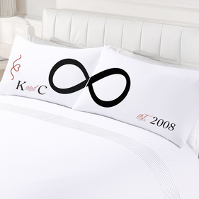 Personalized Infinite Love Couples Pillowcase Set