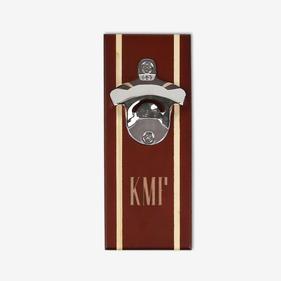 Monogram Walnut Magnetic Bottle Opener Cap Catcher
