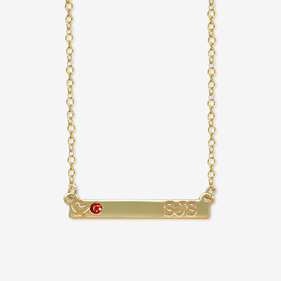 Personalized Initial Heart Birthstone Bar Necklace