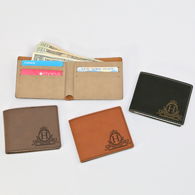 Personalized Initial Leatherette Bifold Wallet