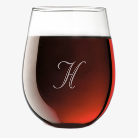 Personalized Initial Stemless Wine Glass